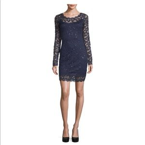 My Michelle Navy Long Sleeve Party Dress - Juniors